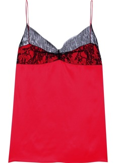Nina Ricci Woman Chantilly Lace-paneled Silk-satin Camisole Crimson