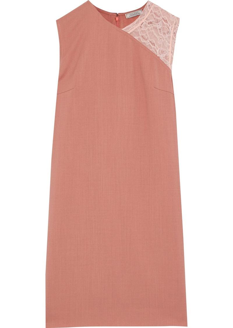 Nina Ricci Woman Chantilly Lace-paneled Twill Mini Dress Antique Rose