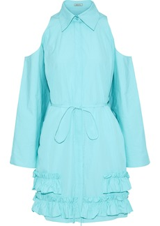 Nina Ricci Woman Cold-shoulder Ruffled Cotton-poplin Dress Mint