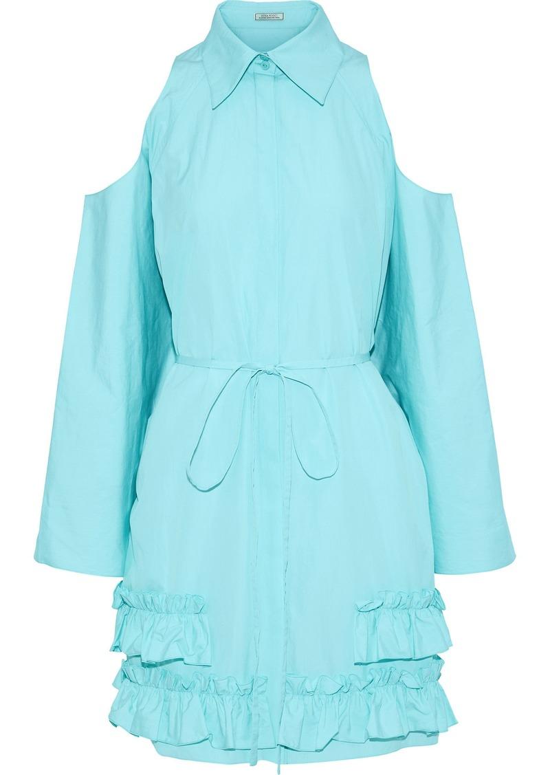 Nina Ricci Woman Cold-shoulder Ruffled Cotton-poplin Dress Mint