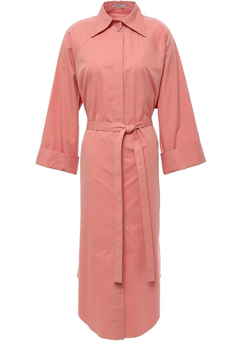 Nina Ricci Woman Belted Shirred Cotton-poplin Midi Shirt Dress Antique Rose