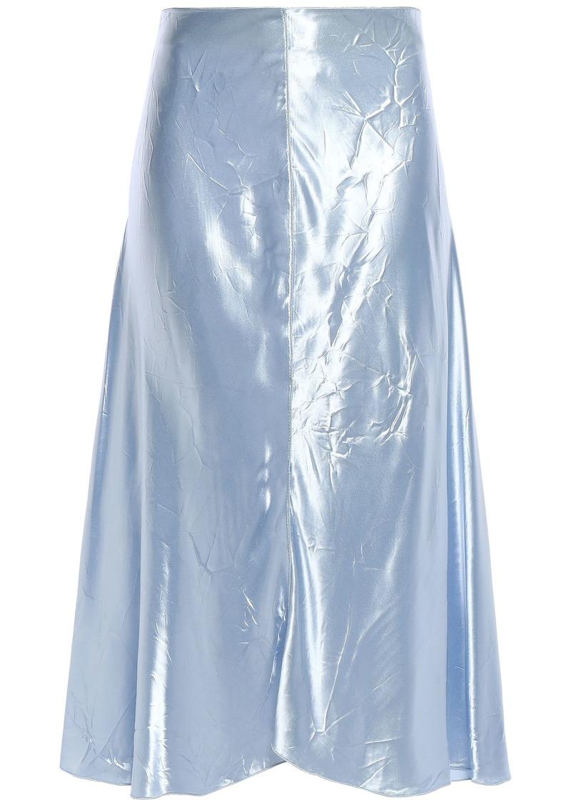 Nina Ricci Woman Crinkled-satin Midi Skirt Sky Blue