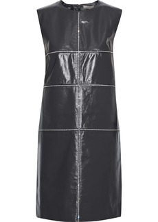 Nina Ricci Woman Crystal-embellished Glossed-leather Mini Dress Dark Gray
