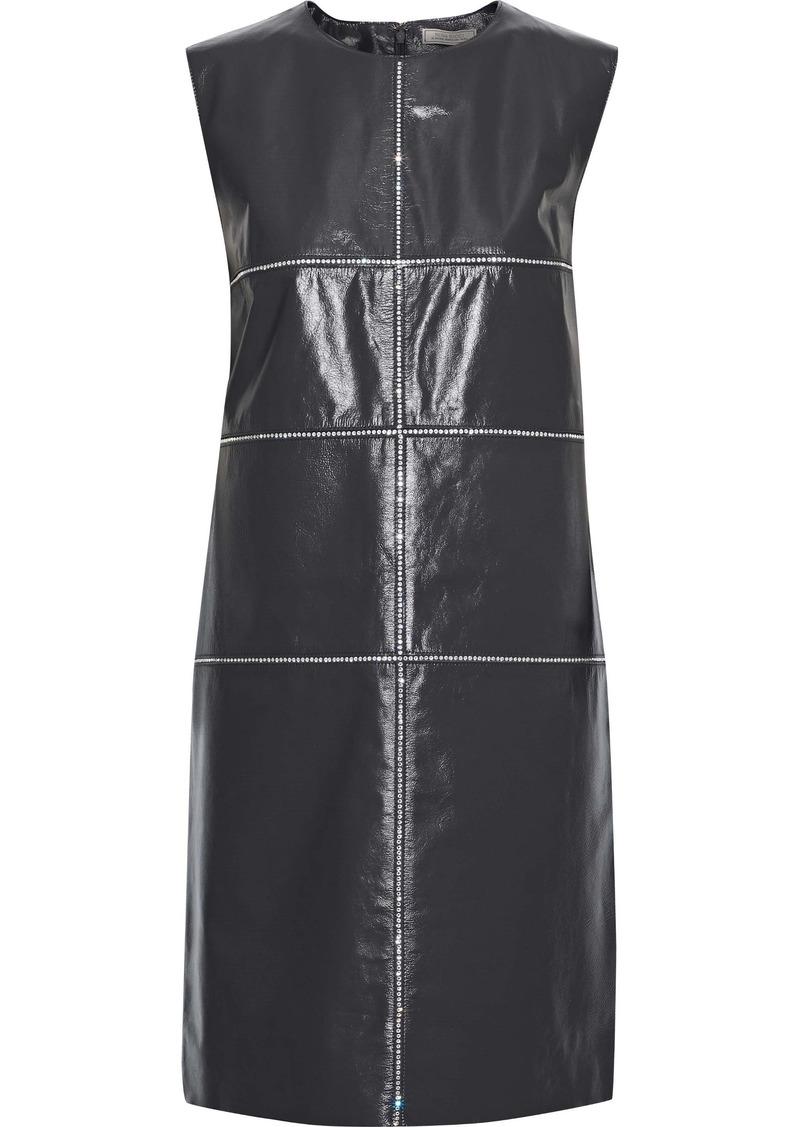 Nina Ricci Woman Crystal-embellished Glossed-leather Mini Dress Dark Gray