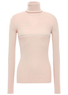 Nina Ricci Woman Crystal-embellished Ribbed Wool Turtleneck Top Blush