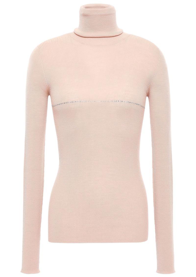 Nina Ricci Woman Crystal-embellished Ribbed Wool Turtleneck Top Blush