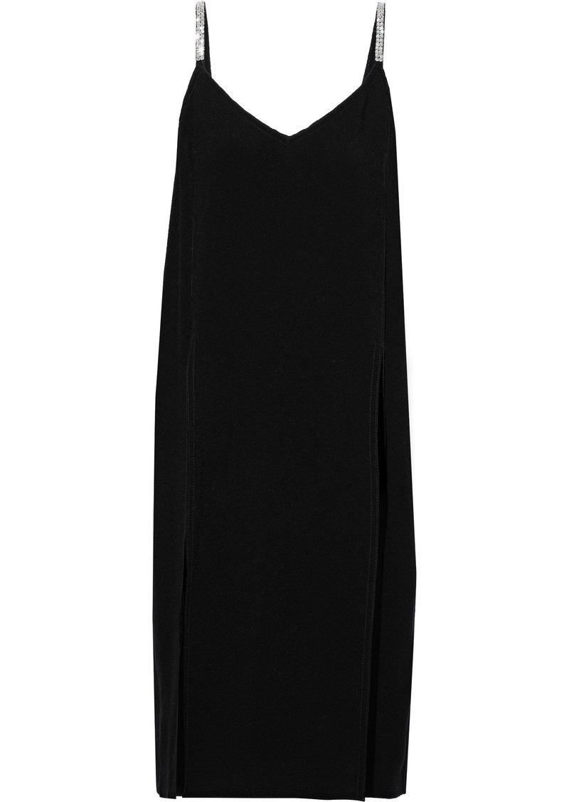 Nina Ricci Woman Crystal-embellished Silk-crepe Slip Dress Black