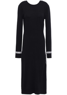 Nina Ricci Woman Crystal-embellished Wool Midi Dress Black
