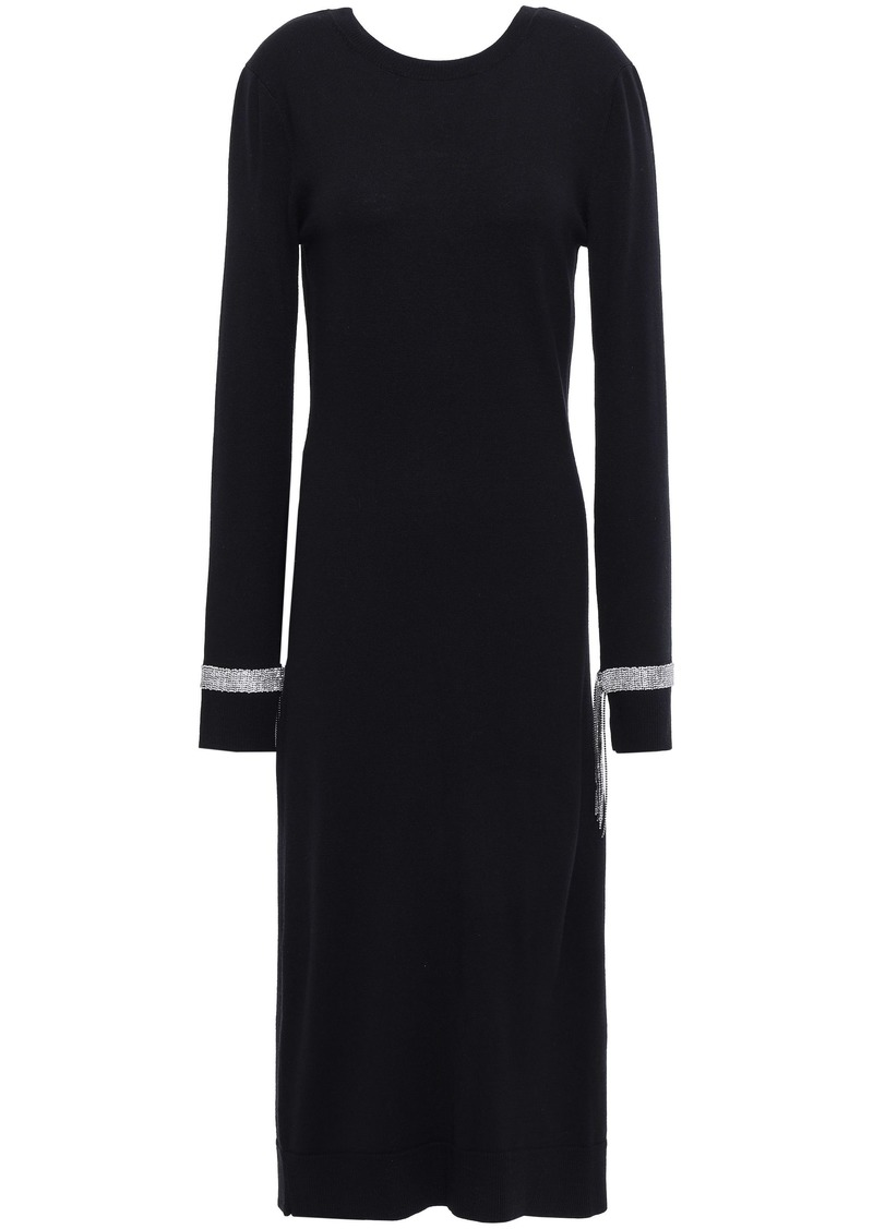 Nina Ricci Woman Crystal-embellished Wool Midi Dress Black