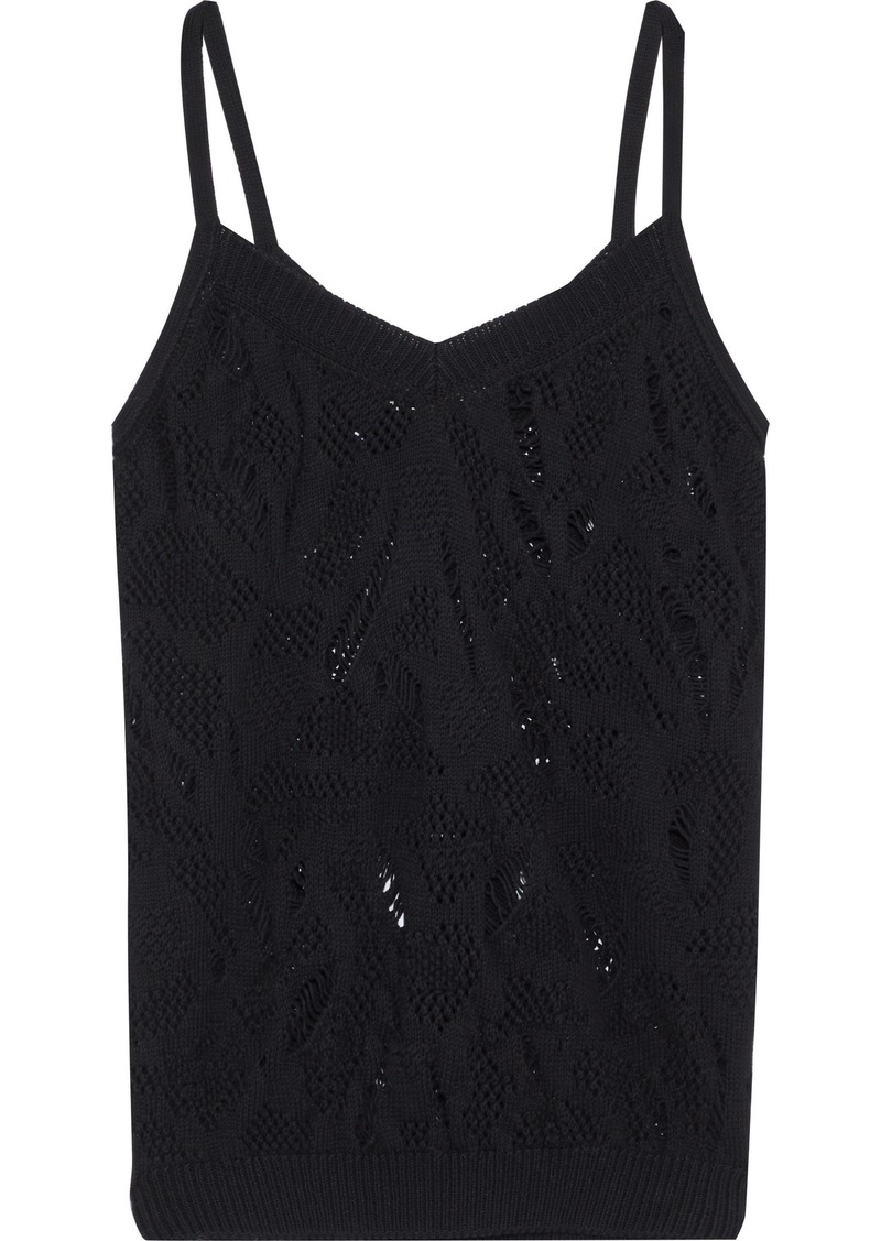 Nina Ricci Woman Distressed Cotton Camisole Black
