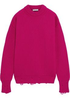 Nina Ricci Woman Distressed Ribbed Wool Sweater Fuchsia