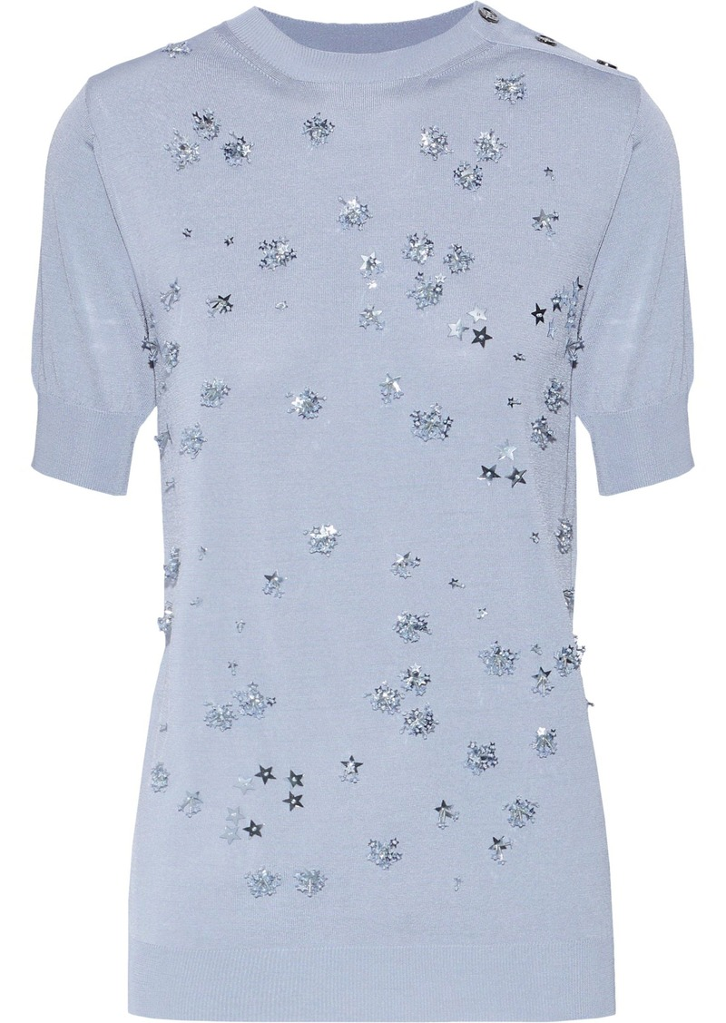Nina Ricci Woman Embellished Knitted Top Light Blue