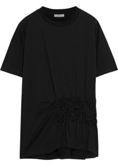 Nina Ricci Woman Embroidered Gathered Cotton-jersey T-shirt Black