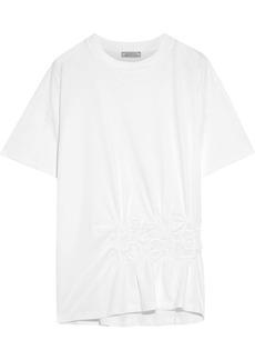 Nina Ricci Woman Embroidered Gathered Cotton-jersey T-shirt White