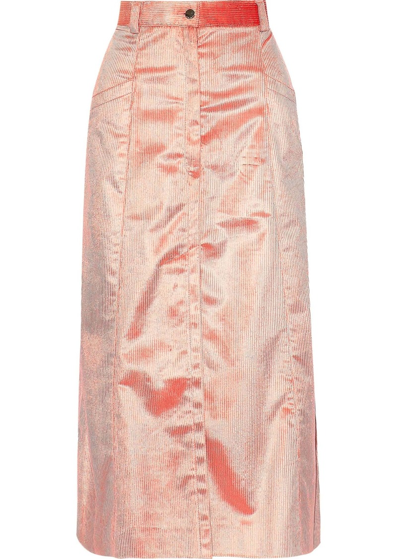 Nina Ricci Woman Cotton-blend Corduroy Midi Skirt Pastel Pink
