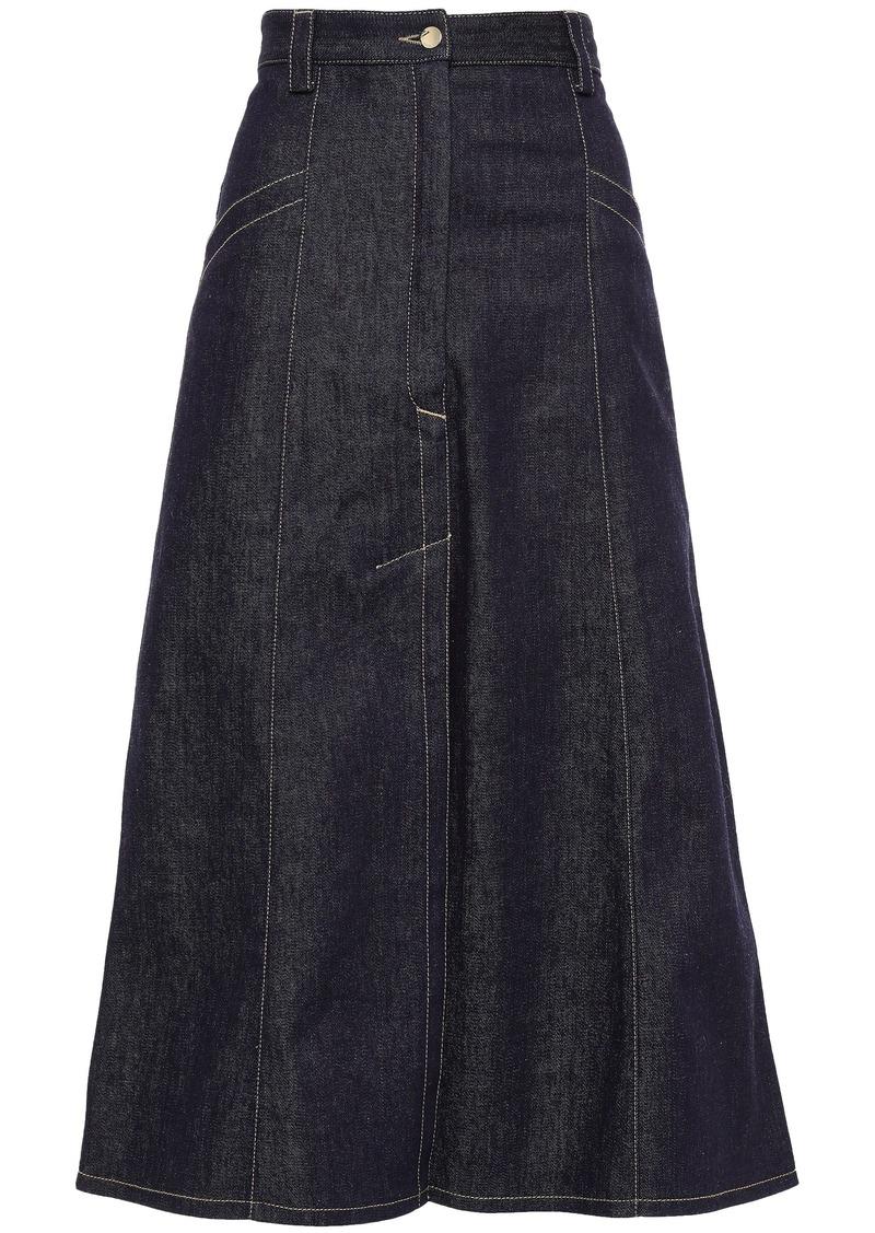 Nina Ricci Woman Flared Denim Midi Skirt Dark Denim