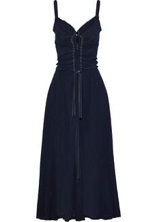 Nina Ricci Woman Frayed Crinkled Cotton-gauze Maxi Dress Navy