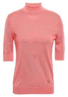 Nina Ricci Woman Frayed Silk Cashmere And Wool-blend Turtleneck Top Bubblegum