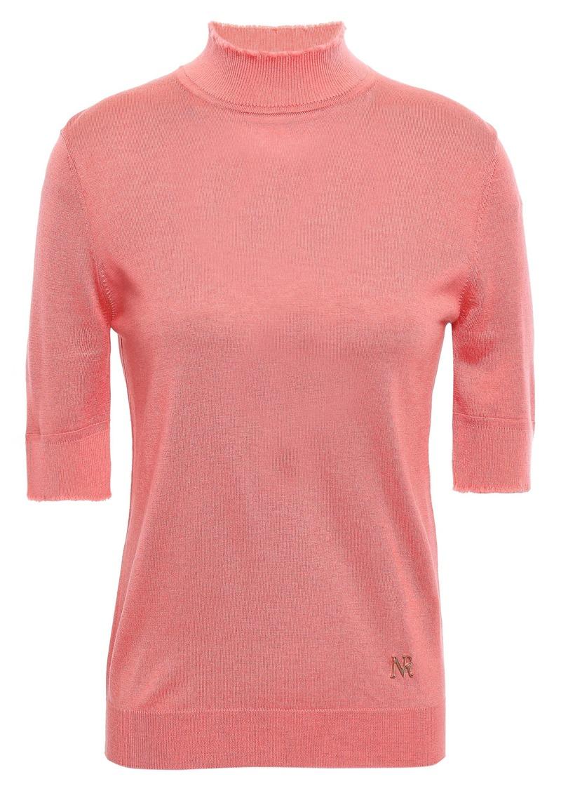 Nina Ricci Woman Frayed Silk Cashmere And Wool-blend Turtleneck Top Bubblegum