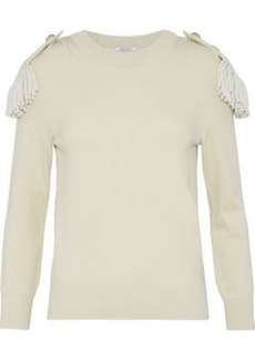 Nina Ricci Woman Fringe-trimmed Wool And Cotton-blend Sweater Ivory