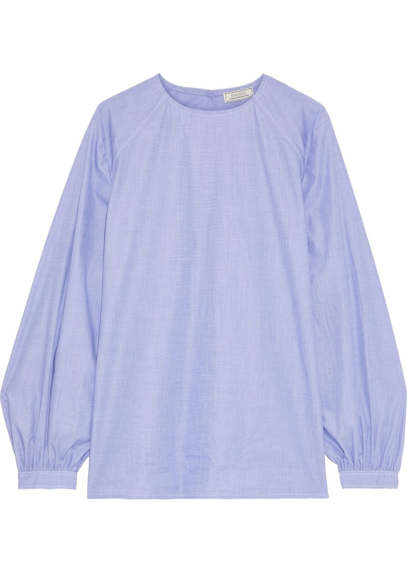 Nina Ricci Woman Gathered Cotton-chambray Blouse Lavender