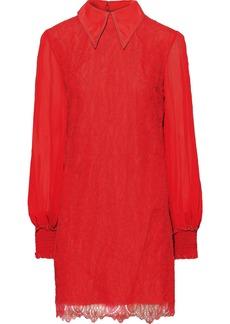 Nina Ricci Woman Gauze-paneled Chantilly Lace Mini Dress Tomato Red