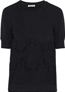 Nina Ricci Woman Lace-trimmed Wool Top Black