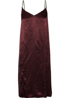 Nina Ricci Woman Layered Crinkled-satin Slip Dress Burgundy