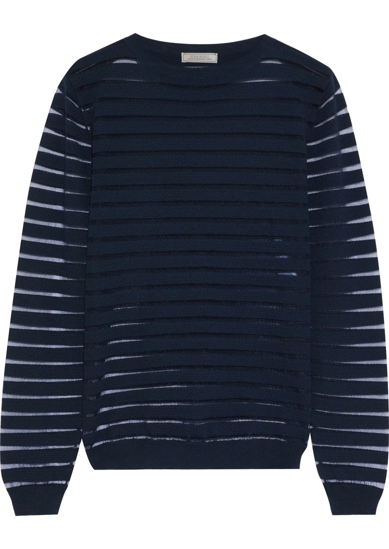 Nina Ricci Woman Mesh-trimmed Knitted Sweater Navy