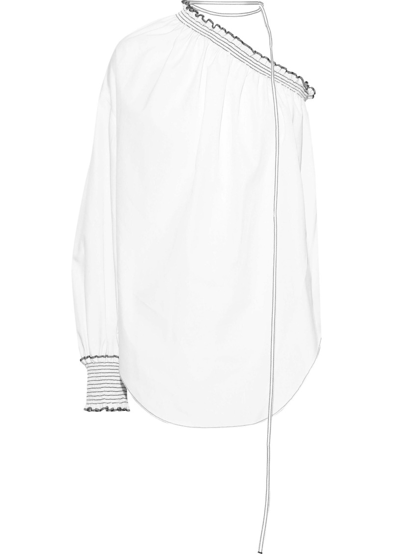 Nina Ricci Woman One-shoulder Shirred Cotton-poplin Top White