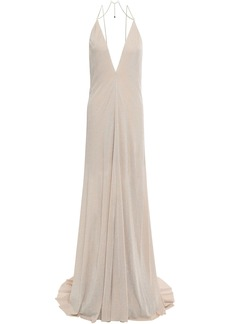 Nina Ricci Woman Open-back Chain-trimmed Stretch-jersey Gown Beige