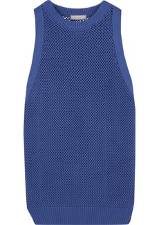 Nina Ricci Woman Open-knit Cotton And Cashmere-blend Top Royal Blue