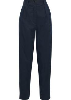 Nina Ricci Woman Pleated Cotton-poplin Tapered Pants Midnight Blue