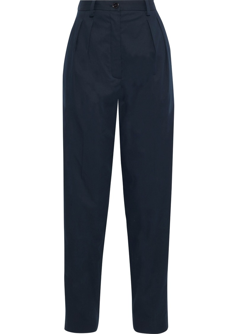 Nina Ricci Woman Pleated Cotton-poplin Tapered Pants Midnight Blue