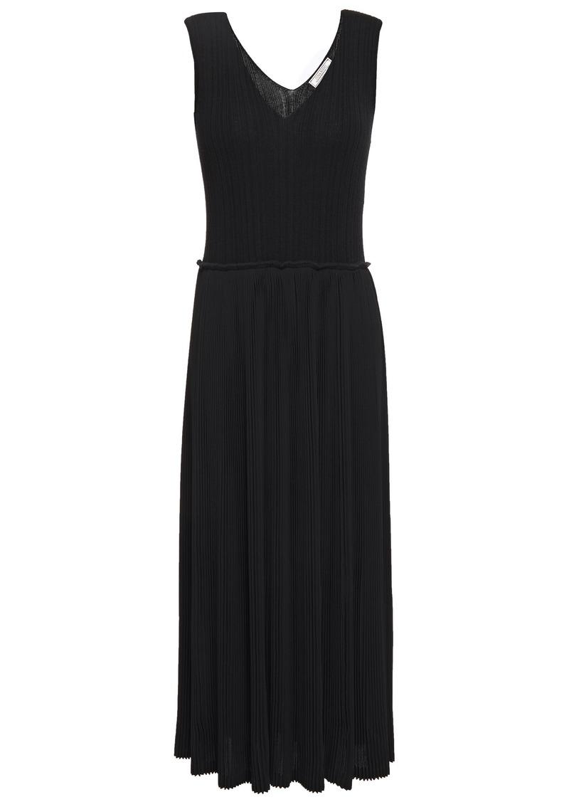 Nina Ricci Woman Pleated Ribbed Crepe Midi Dress Black