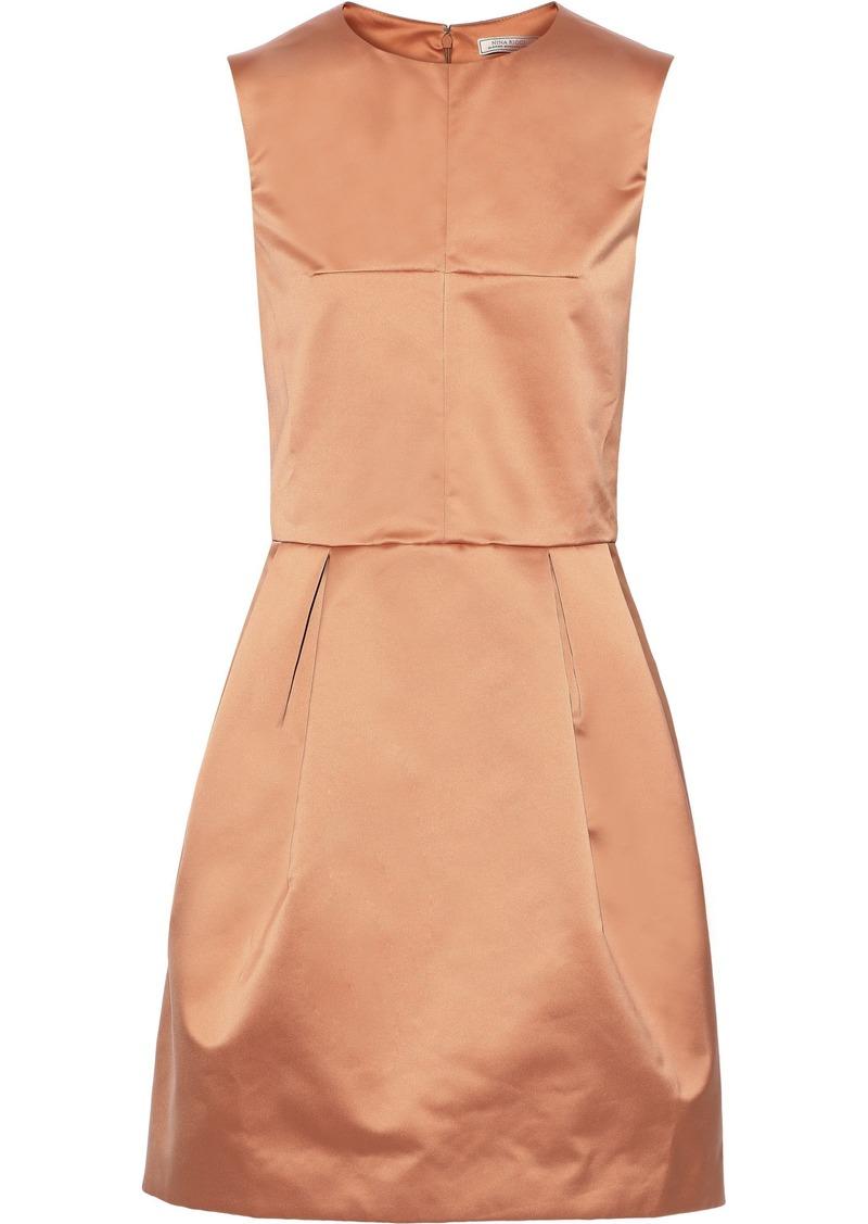 Nina Ricci Woman Pleated Satin Mini Dress Pastel Orange