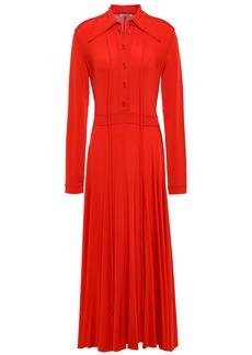 Nina Ricci Woman Pleated Stretch-jersey Midi Shirt Dress Tomato Red