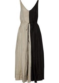 Nina Ricci Woman Pleated Two-tone Crinkled Shell Maxi Dress Black