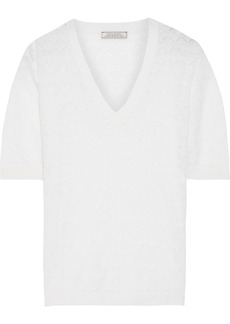 Nina Ricci Woman Pointelle-knit Wool And Cashmere-blend Top White