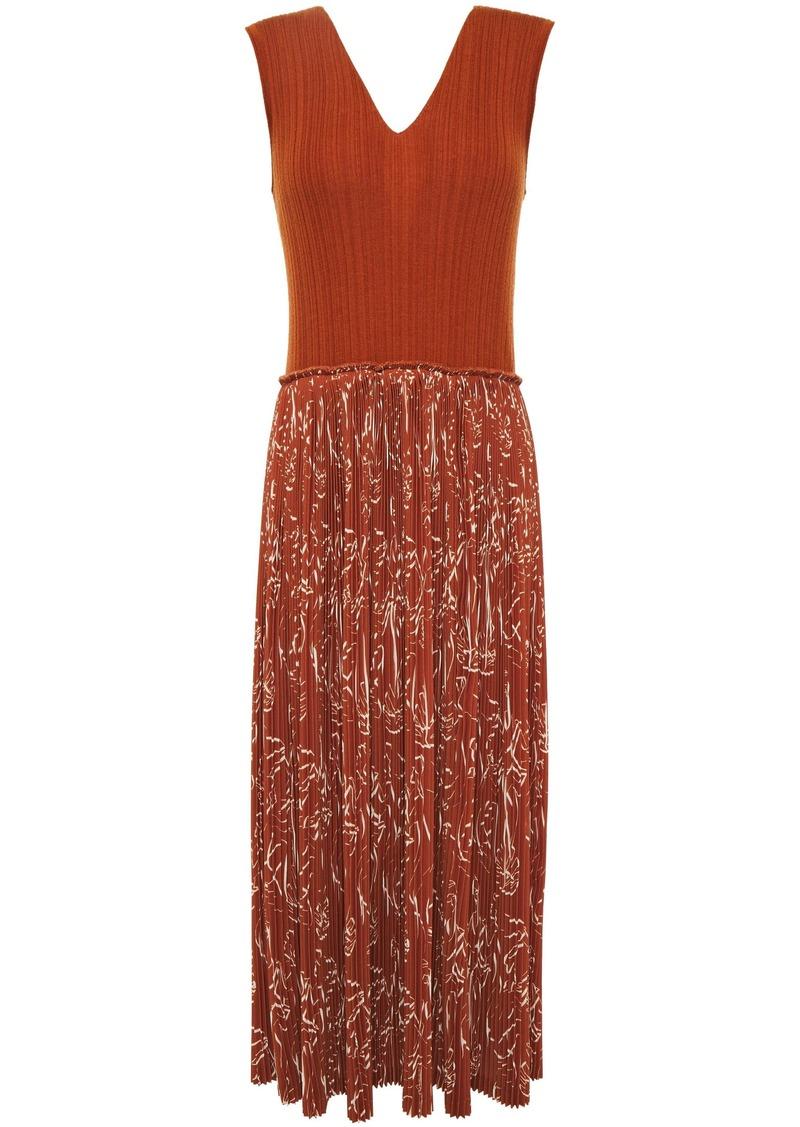 Nina Ricci Woman Printed Crepe And Ribbed Wool And Silk-blend Midi Dress Brown