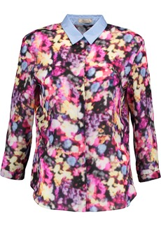 Nina Ricci Woman Printed Silk-satin Shirt Bright Pink