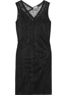 Nina Ricci Woman Ruched Stretch-lace Mini Dress Black