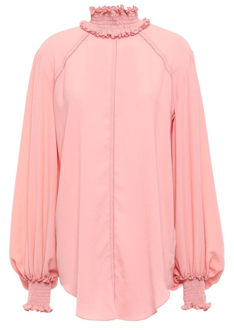Nina Ricci Woman Ruffle-trimmed Shirred Crepe De Chine Blouse Blush