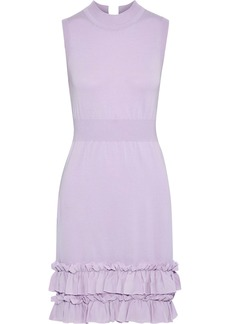 Nina Ricci Woman Ruffle-trimmed Wool-blend Mini Dress Lavender