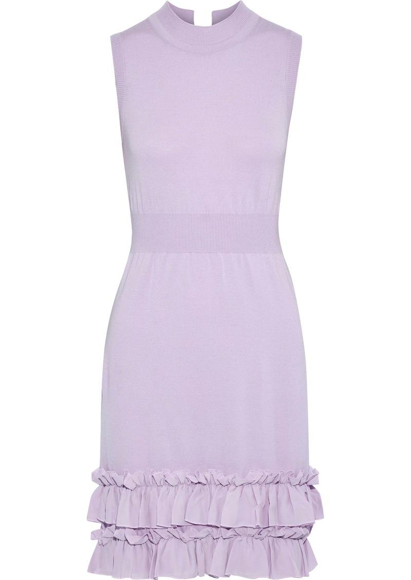 Nina Ricci Woman Ruffle-trimmed Wool-blend Mini Dress Lavender