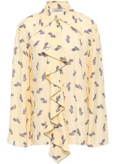 Nina Ricci Woman Ruffled Printed Crepe De Chine Shirt Pastel Yellow
