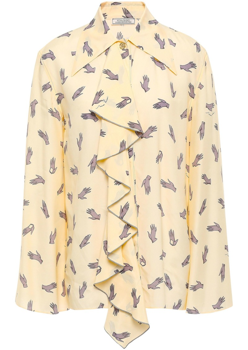 Nina Ricci Woman Ruffled Printed Crepe De Chine Shirt Pastel Yellow