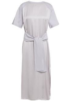 Nina Ricci Woman Satin And Cotton-jersey Midi Dress Light Gray