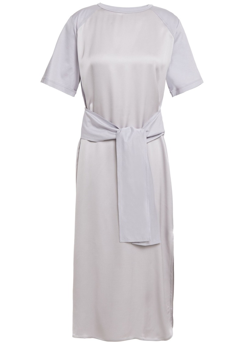 Nina Ricci Woman Tie-front Satin And Cotton-jersey Midi Dress Light Gray