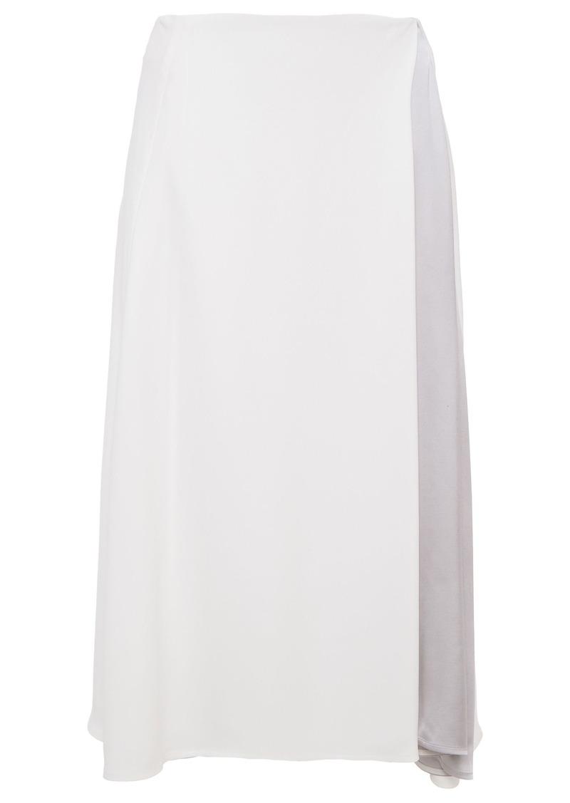 Nina Ricci Woman Satin-paneled Crepe Midi Skirt White